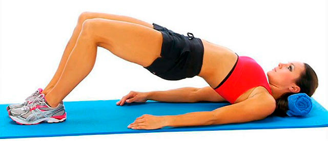 Упражнение – поднимание таза в положении лежа на спине
