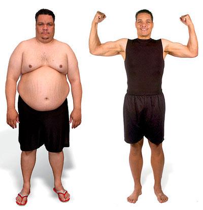 Похудевшие мужчины до и после