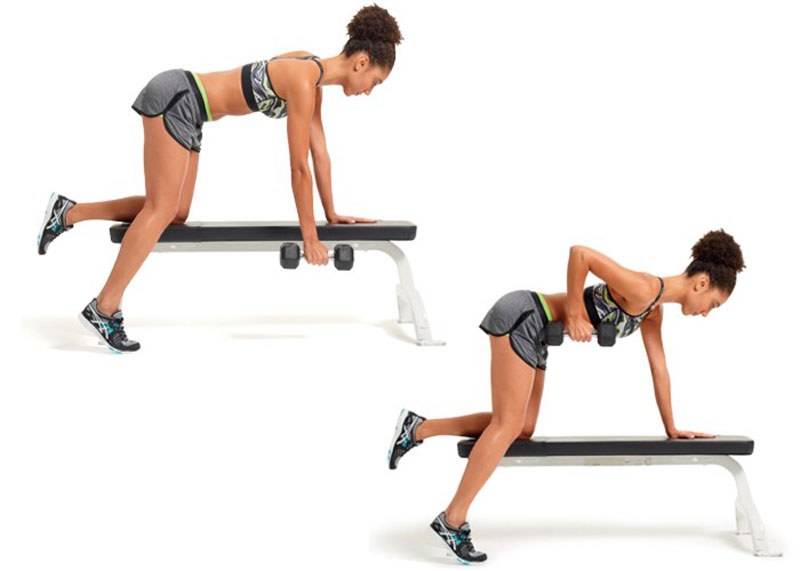 Упражнение поднятие гантелей в наклоне